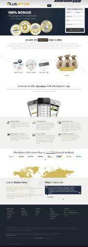 PlusOption (No Binary Options) Home Page Screenshot