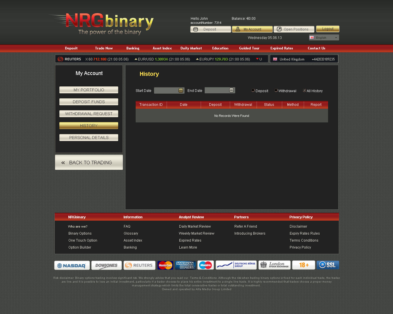 Binary options vip account