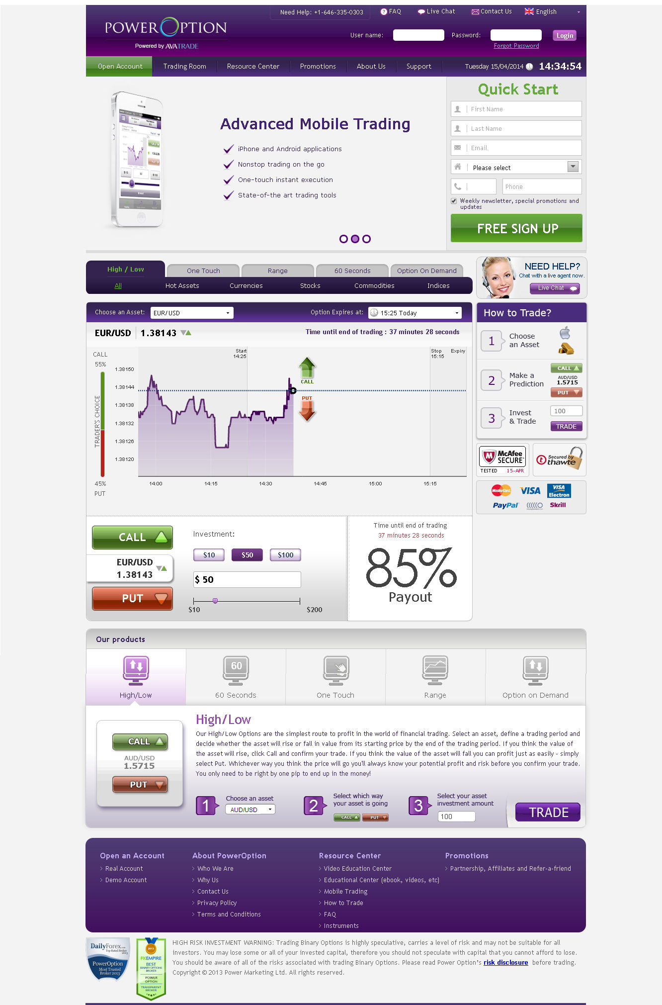 power option binary options applications