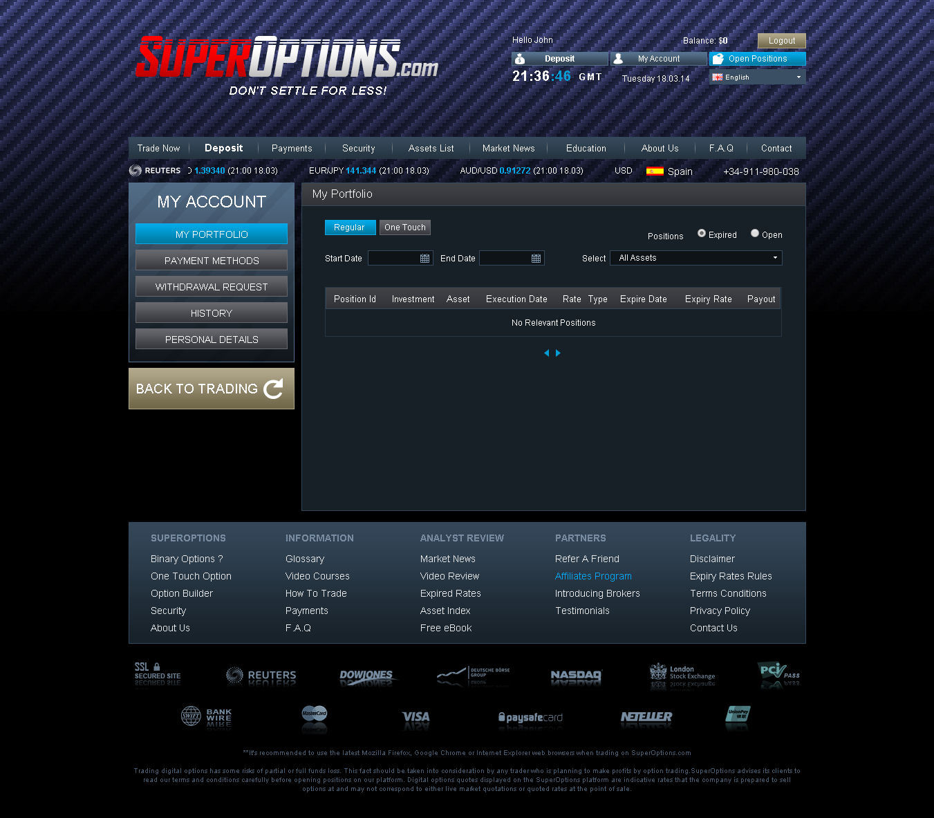 Platform binary options demo trading page