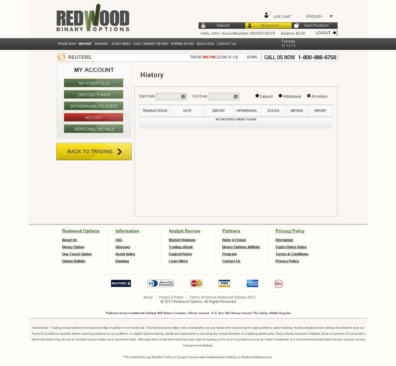 Redwood binary options demo account