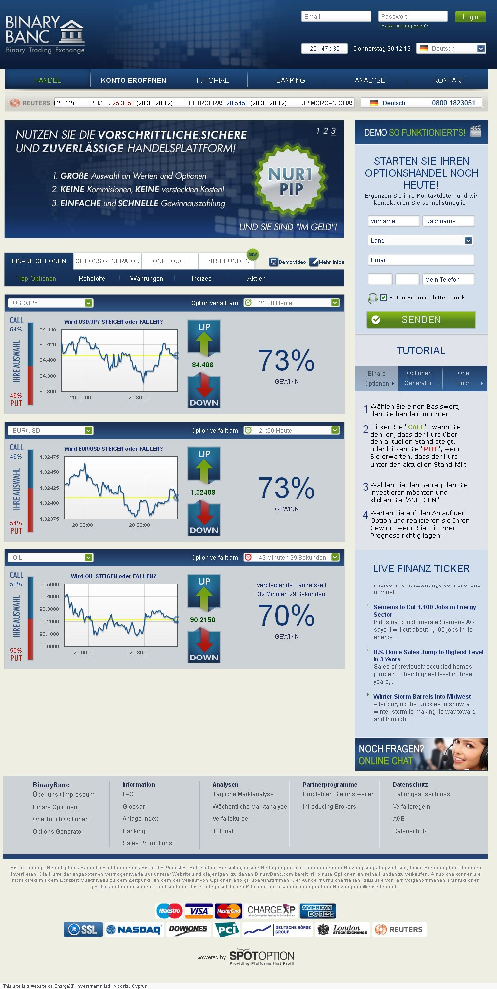 American binary options brokers