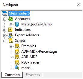 MT5 Navigator subwindow