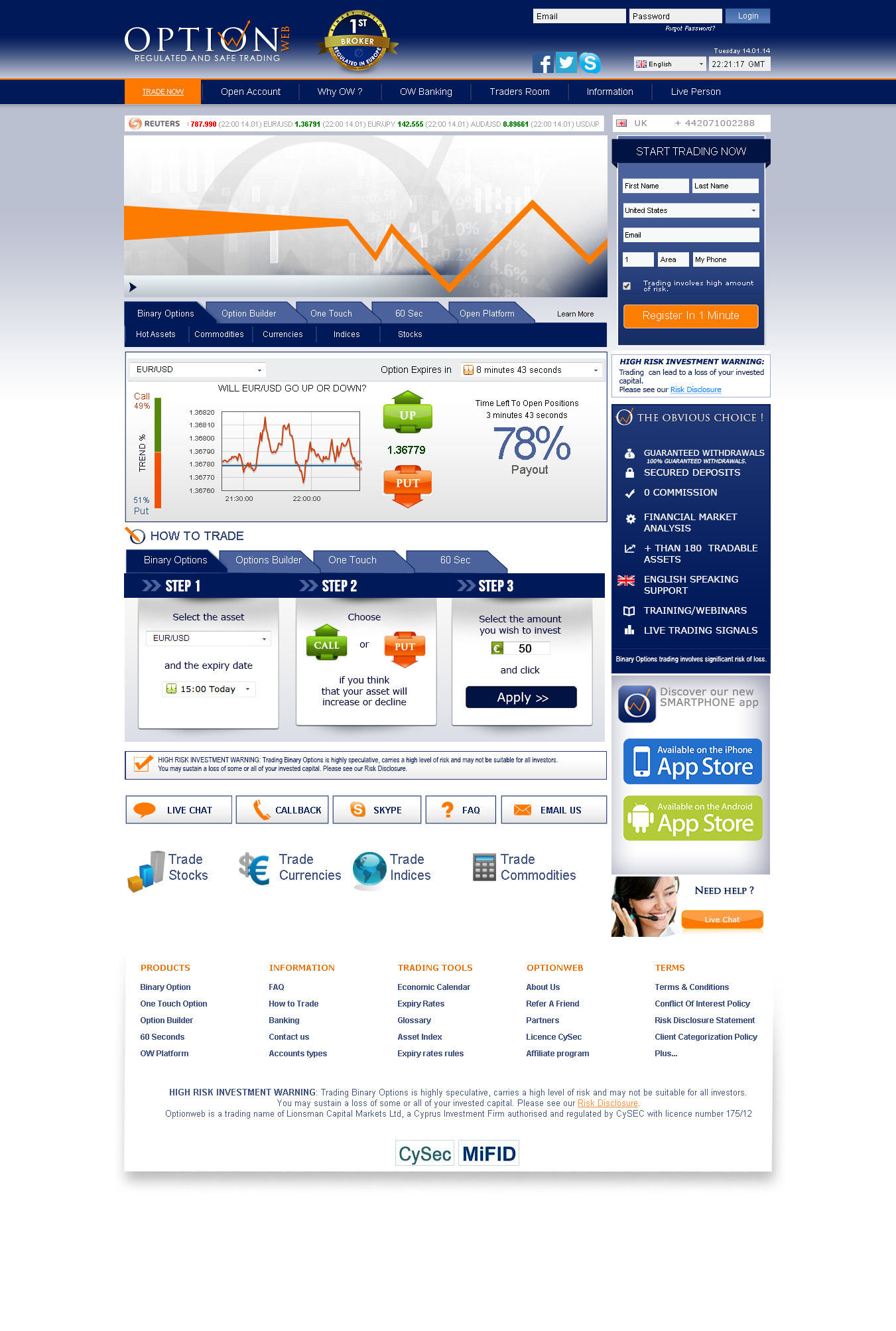 Binary options website design